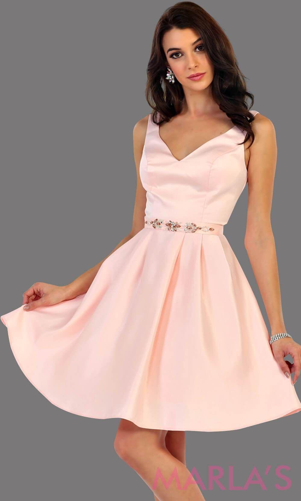 3b1da040ec 1477-Short v neck taffeta light pink grade 8 grad dress with rhinestone  belt. Perfect as a blush confirmation dress
