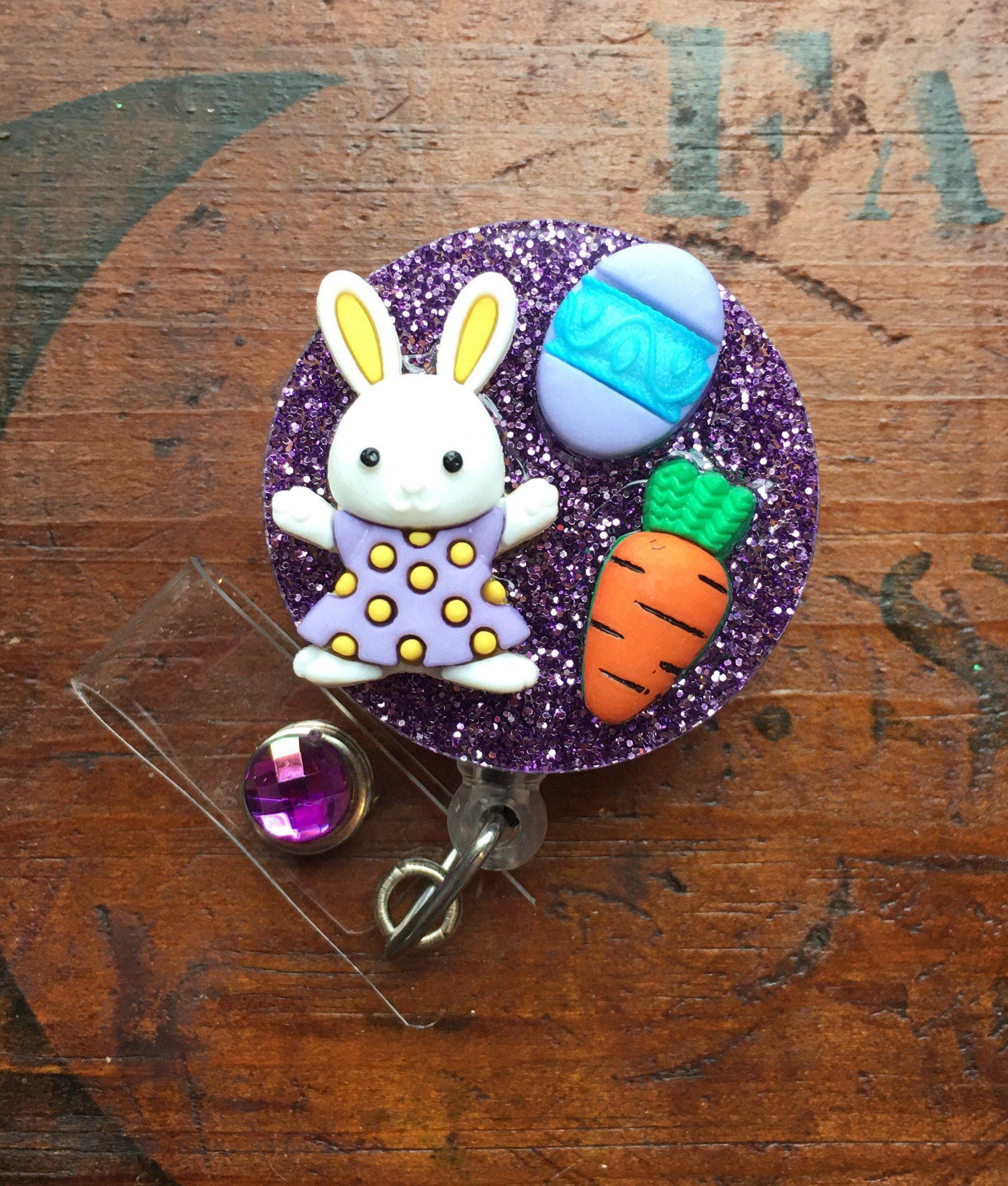 Easter bunny retractable id badge reel in 2020 cute
