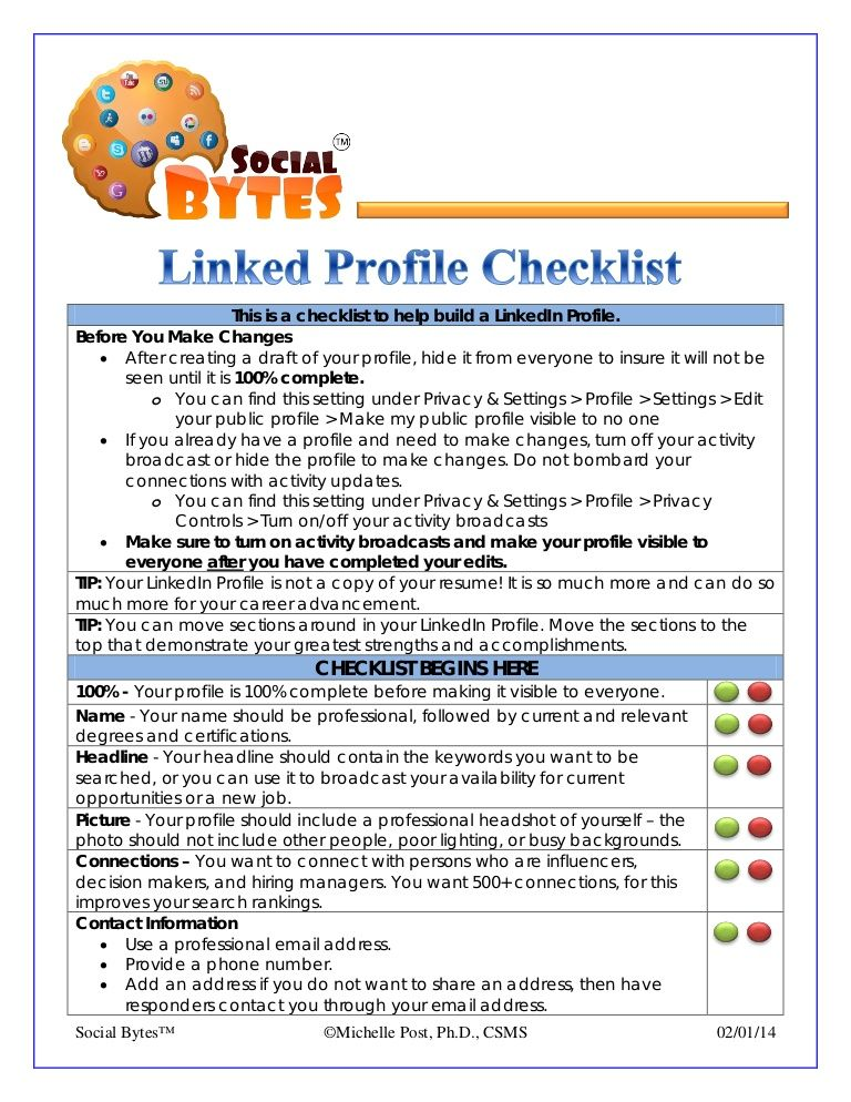 Linkedin profile checklist this is a checklist to help