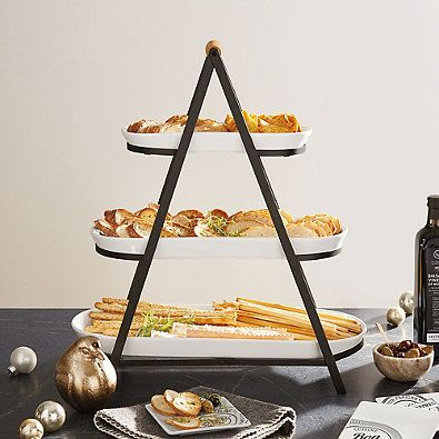 3 Tier Oblong Ceramic Server In White Tiered Serving Platters Kitchen Dishes Serving Stand