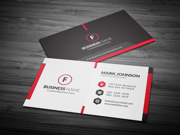 Free Scarlet Red Creative Corporate Business Card Template  More