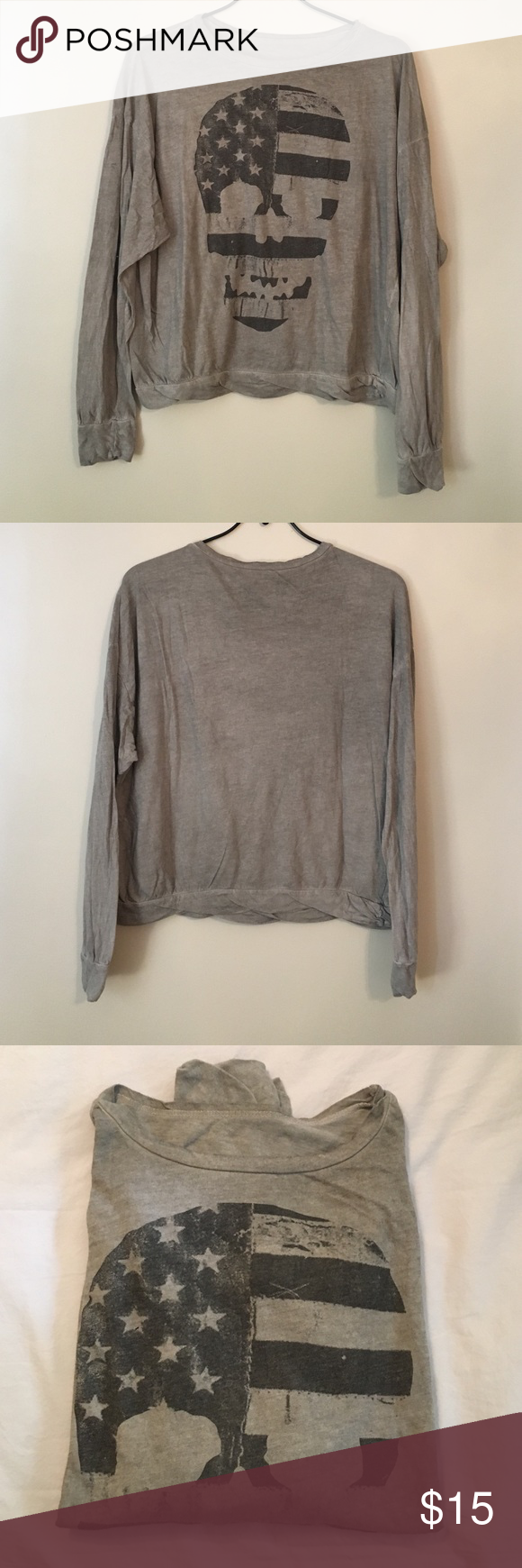 Brandy Melville skull long sleeve In new condition - worn once. One size Brandy Melville Tops Tees - Long Sleeve