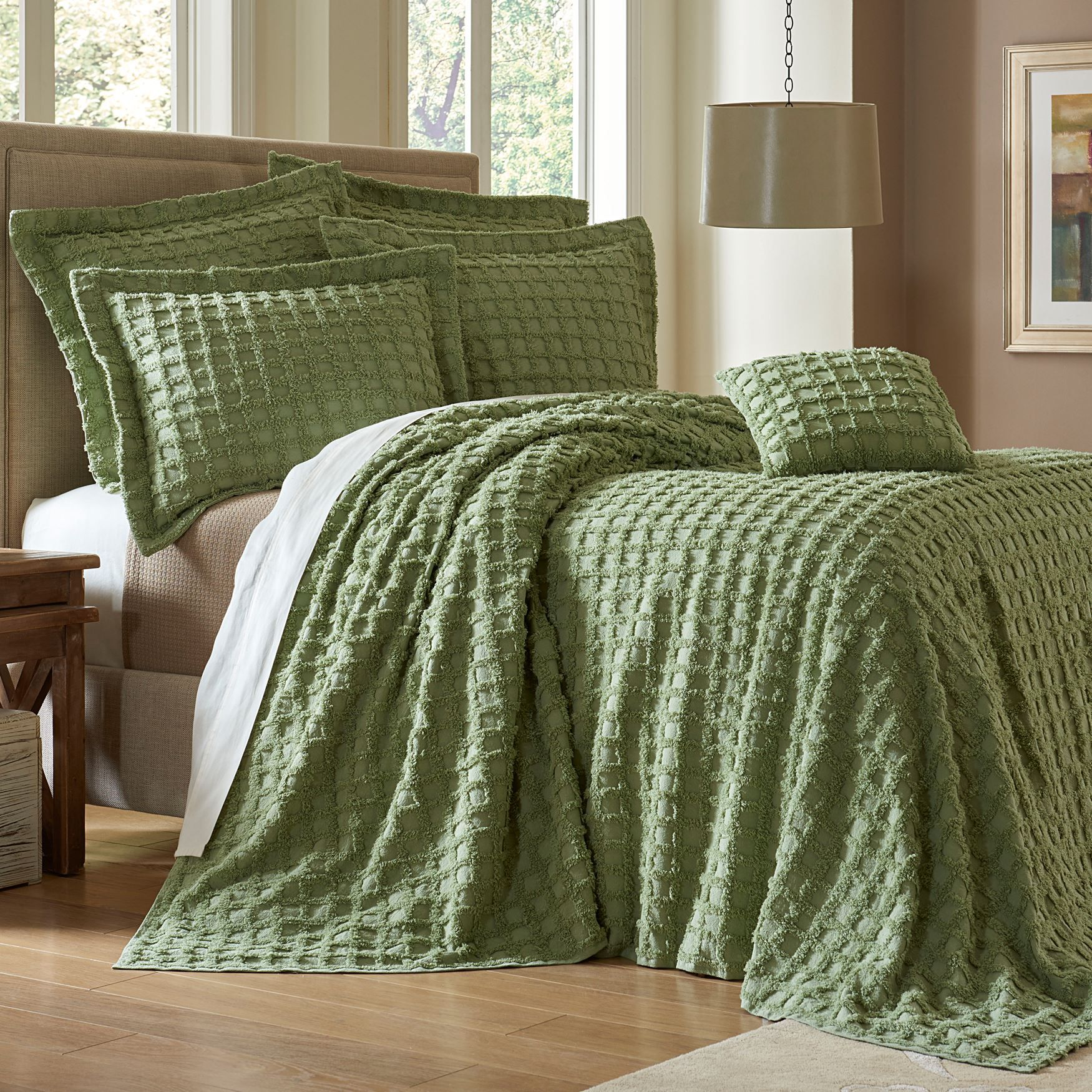 Sage Waffle Chenille Bedspread Collection Blankets