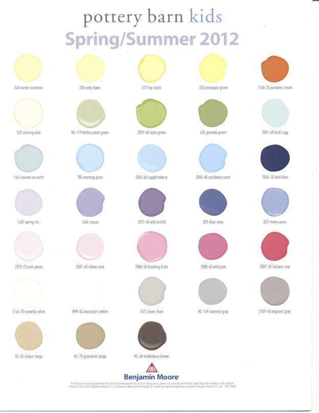 Pottery Barn Kids Spring Summer 2017 Benjamin Moore Paint Colors