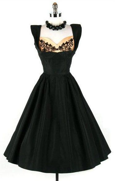 50's black peek-a-boo dress