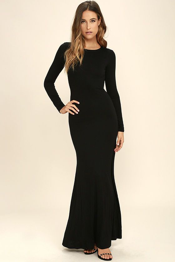 Up And Coming Black Long Sleeve Maxi Dress In 2018 Dressy