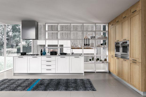 cuisine blanche et bois avec biblioth que design en. Black Bedroom Furniture Sets. Home Design Ideas