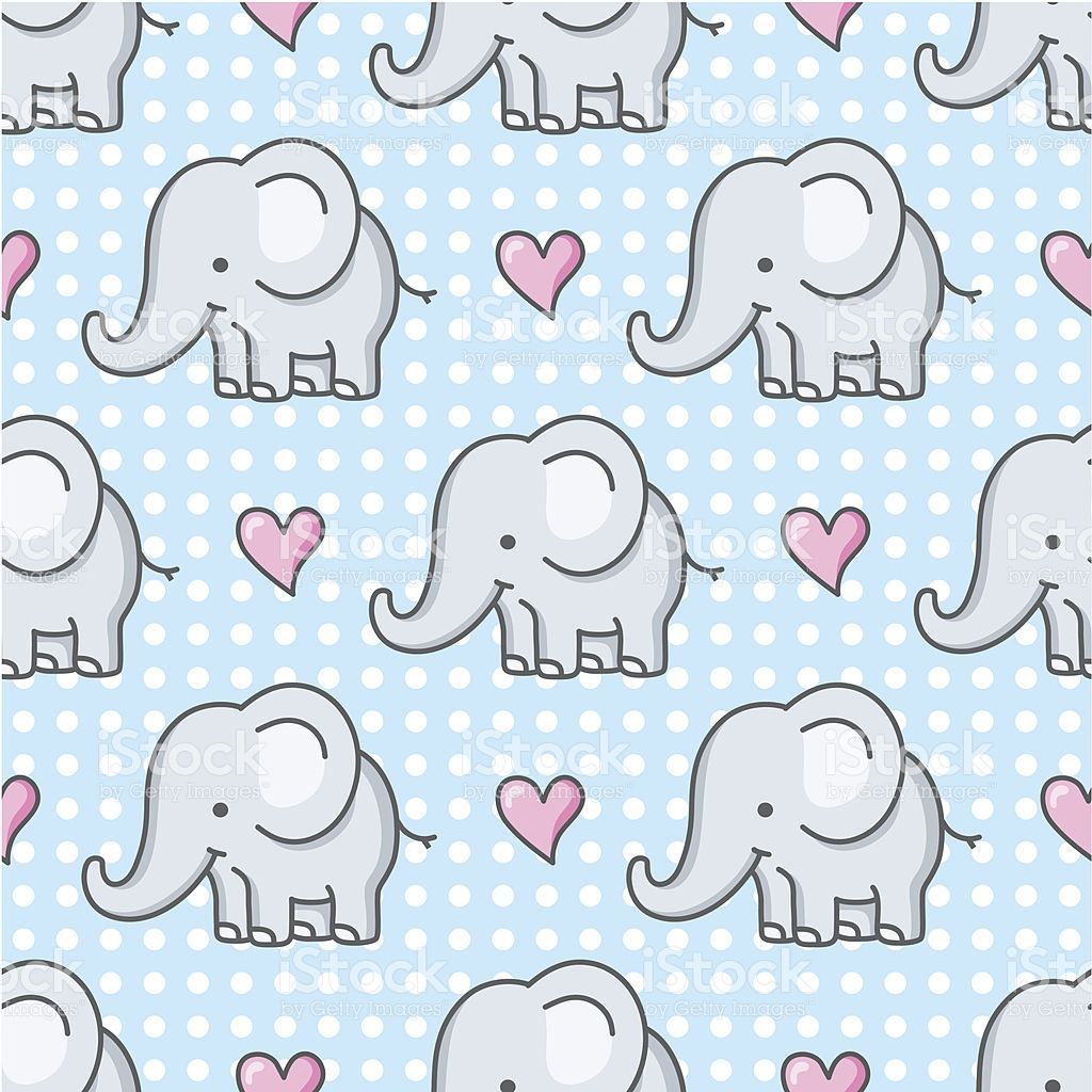 seamless pattern with cute baby elephants and hearts | Bebé elefante ...