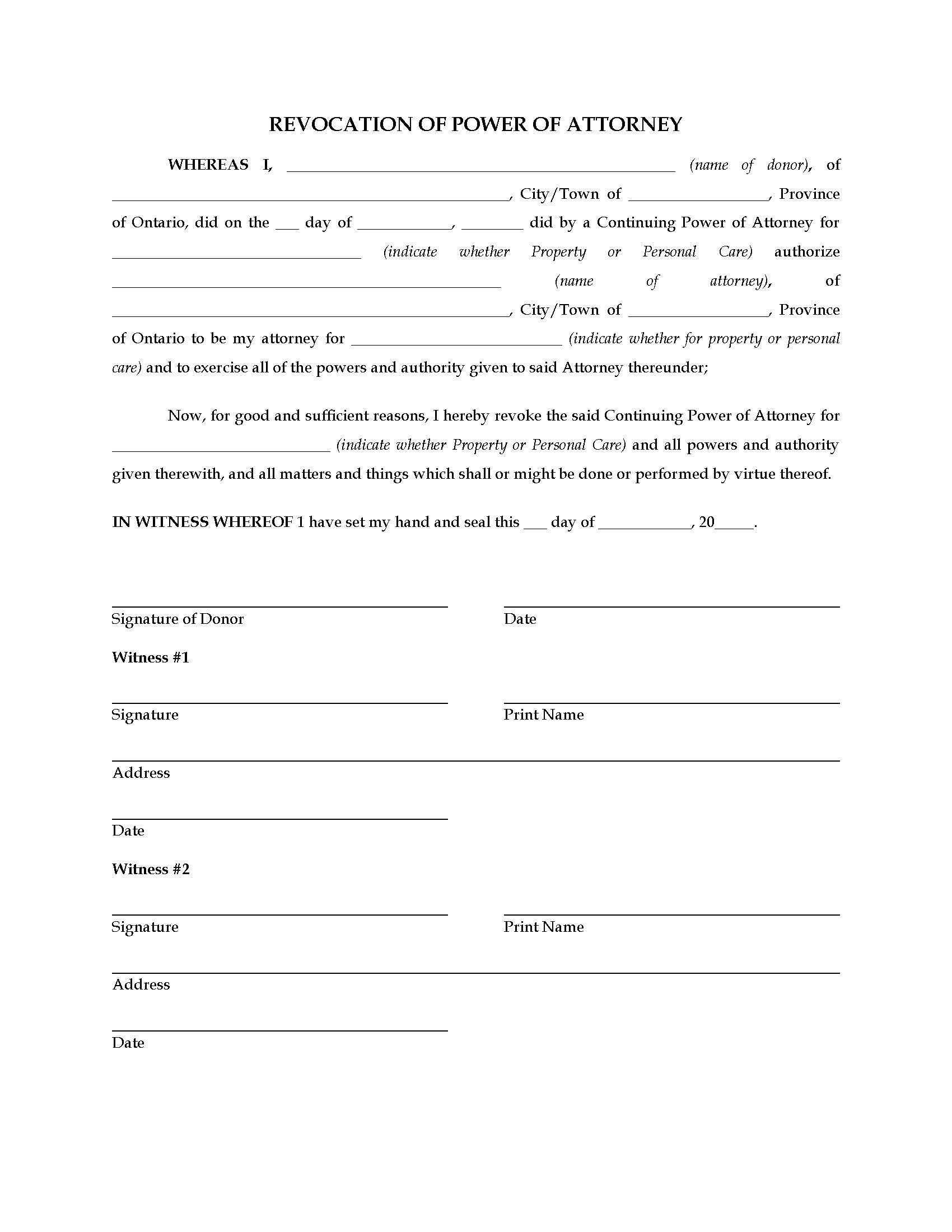 Ontario Revocation Of Power Of Attorney Letter Templates Templates Free Design Lettering