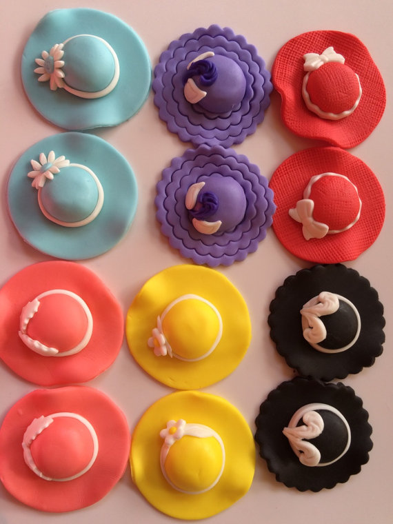 """tea party cupcake toppers 12pcs 2.5"""" spring ladies hat ..."""