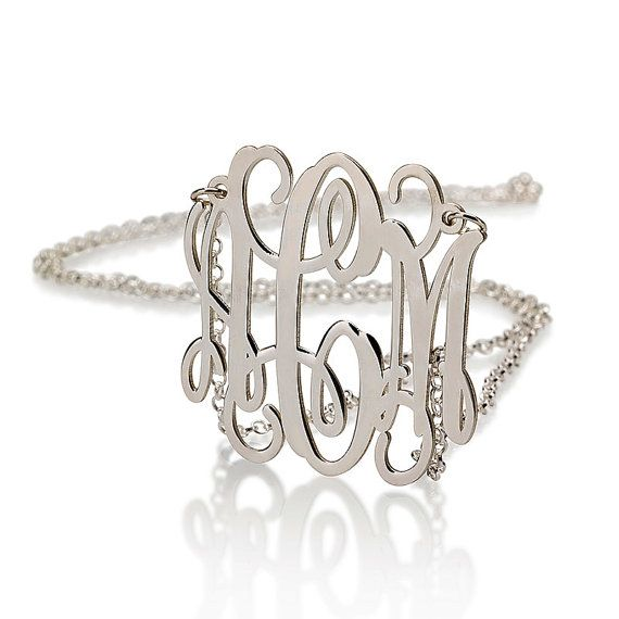 Valentines day special - Silver Monogram Necklace - 1 inch Personalized Monogram - 925 Sterling Silver