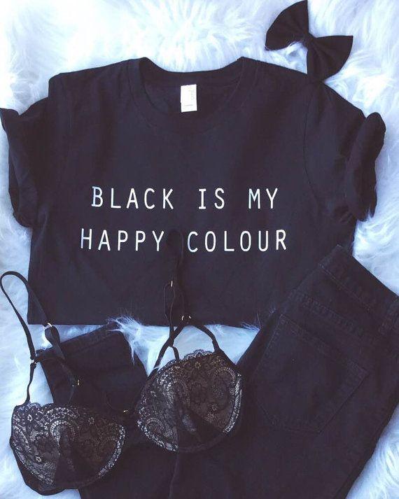 Black Is My Happy Colour Tshirt Tumblr Blogger van ArmiTee op Etsy