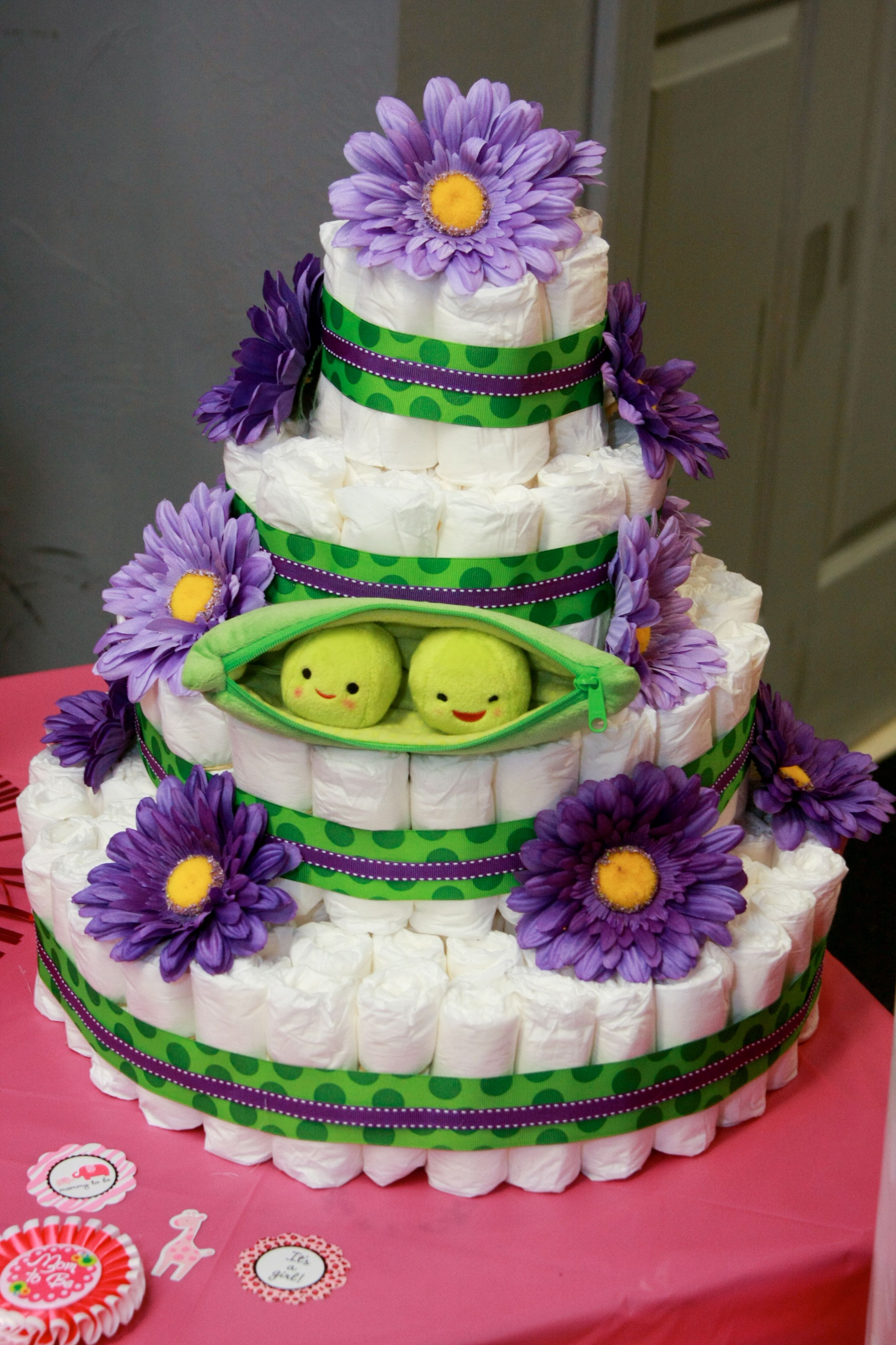 Peas In A Pod Twin Diaper Cake Party Planning Pinterest