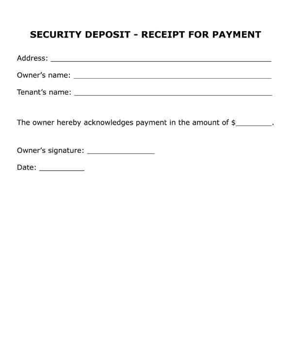 Free printable legal form. Security deposit - receipt for payment ...