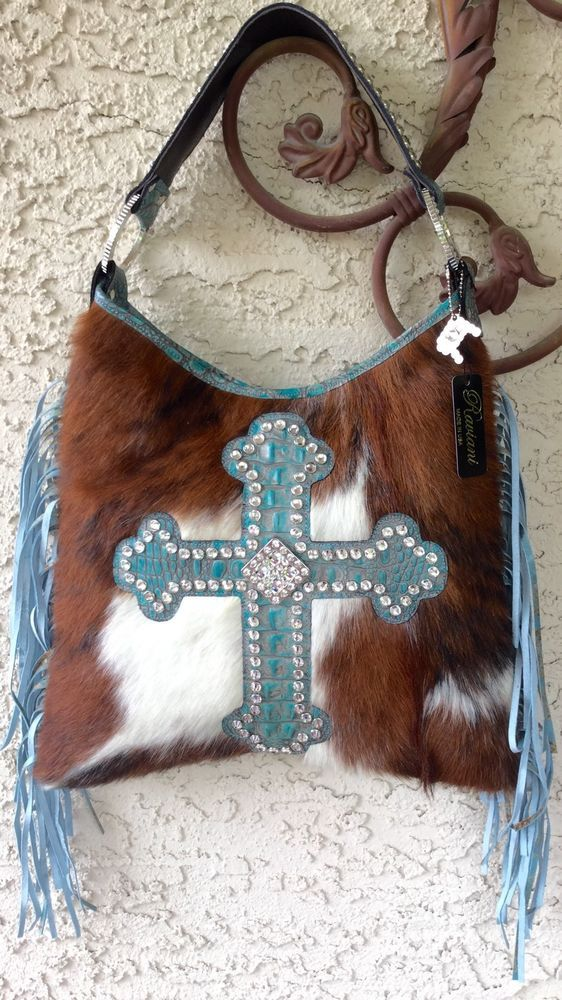 Raviani Western Turquoise Leather Handbag Purse Fringe Swarvoski Crystals Cross #Raviani #ShoulderBag
