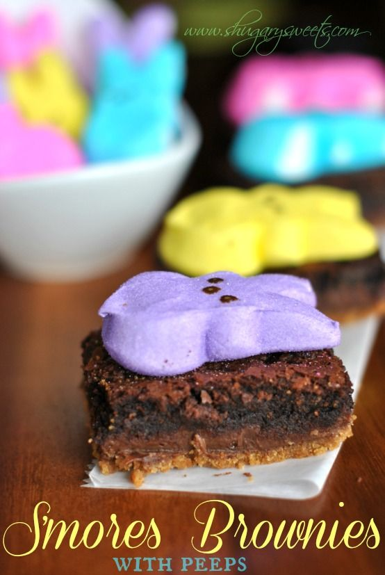 Layered S'mores Brownies with PEEPS: rich, fudgy brownies with a layer of grahams, fudge and brownie. Topped with marshmallow #PEEPS