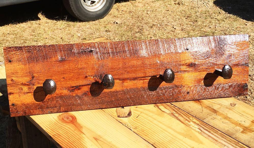 Rustic Reclaimed Oak Barn Wood Railroad Spike Coat Rack - Handmade In USA #Handmade