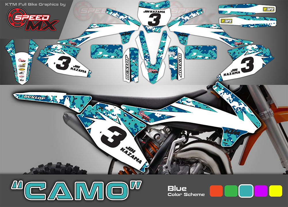 Digi Camo Blue Full Bike Graphics For Motocross Dirtbikes Custom Designed And Printed For You Here In Pens Motorcycle Camping Gear Ktm Dirt Bikes Motocross