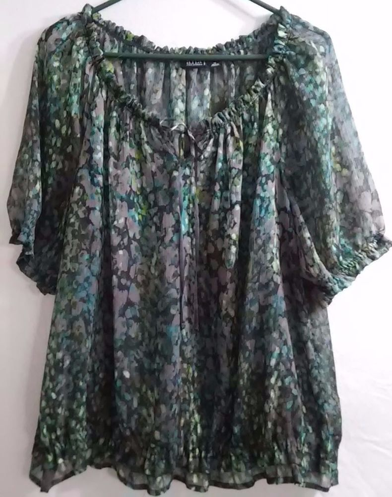 a.n.a. Women's Top ~ Blouse Size 1X Semi-Sheer Ribbon Tie Front Layered Hem G6 #ana #Tunic #Multioccasion