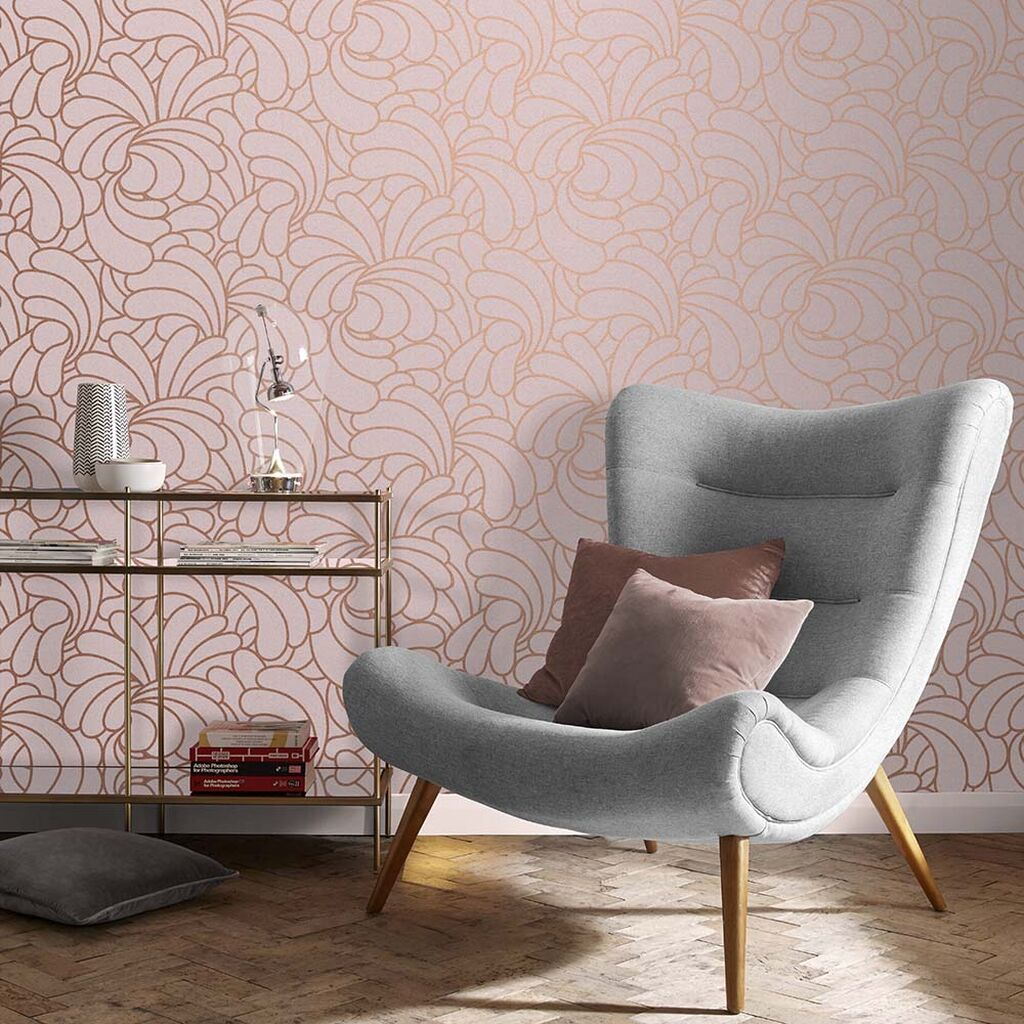 Bananas Copper Blush Wallpaper In 2020 Copper Living Room B