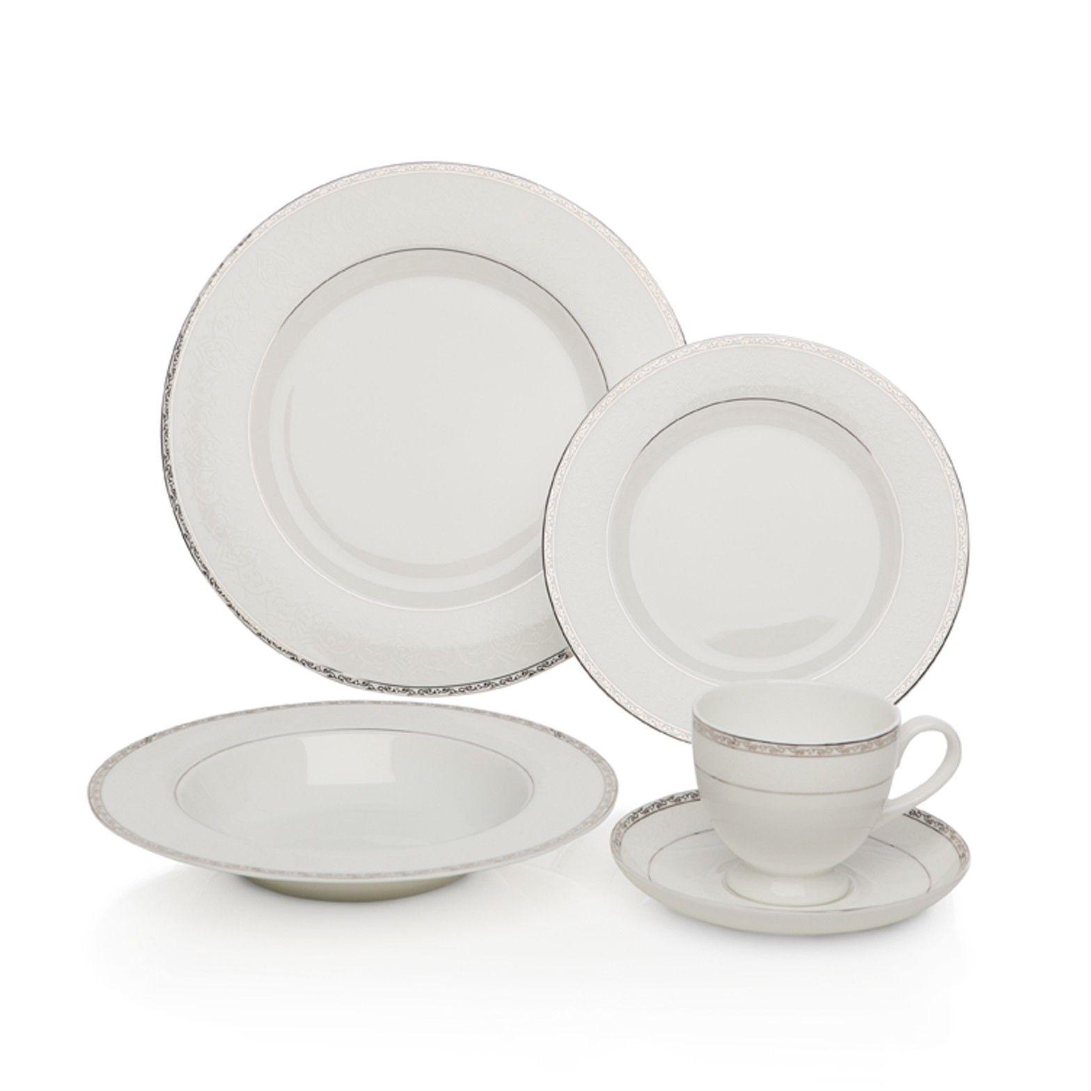 Platinum Bone China Dinner Set - Made from fine bone china this dinner set is both sophisticated and graceful.  sc 1 st  Pinterest & 20pc Platinum Bone China Dinner Set | Home Decor | Pinterest ...
