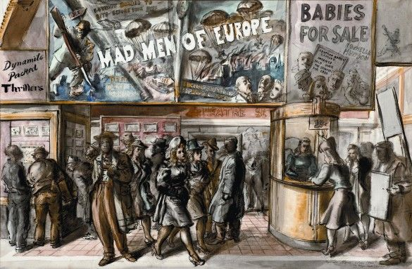 """""""Mad Men of Europe"""" by Reginald Marsh. 1940, watercolor on paper. From the collection of John and Susan Horseman on loan to The Columbus Museum of Art as part of their """"Modern Dialect"""" exhibition (2014)"""