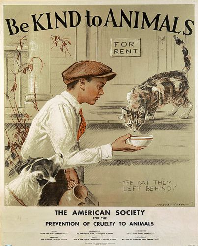 "ASPCA vintage poster by Morgan Davis (1935) - ""The cat they left behind"""