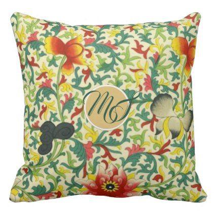 Art Nouveau Orchids Floral Pattern Monogram Throw Pillow - monogram gifts unique design style monogrammed diy cyo customize