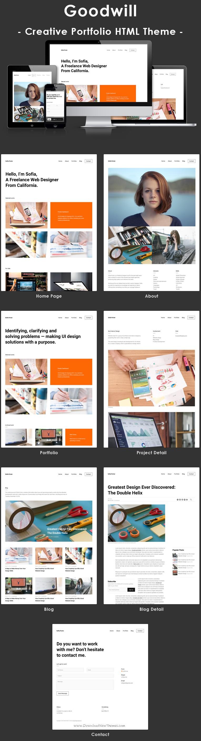 Goodwill – Creative, Clean, Portfolio Template