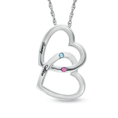 Zales Couples Simulated Birthstone and Name Love you more Heart Pendant in Sterling Silver (2 Stones and Names) vMcD5kHY