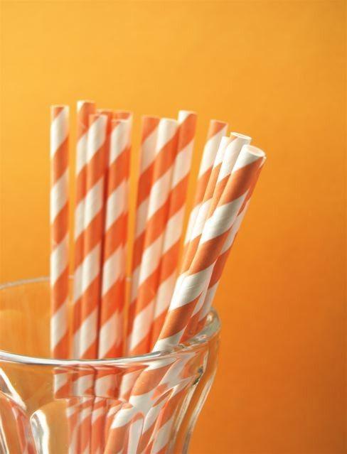 Color Naranja - Orange!!! Paper Straws