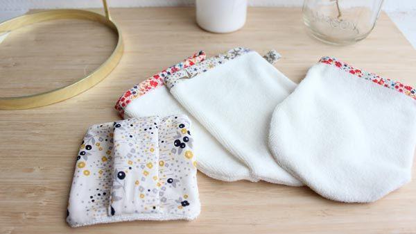 Gant et carré démaquillant lavables DIY en tissu micro éponge en viscose de bambou