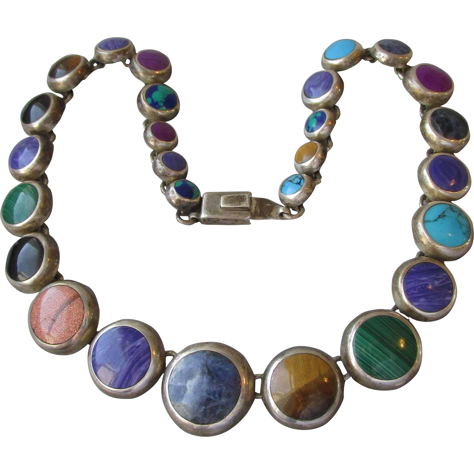 Frederick Davis Mexican Sterling Link Bracelet W/ Small Round Turquoise Stones Jewelry & Watches