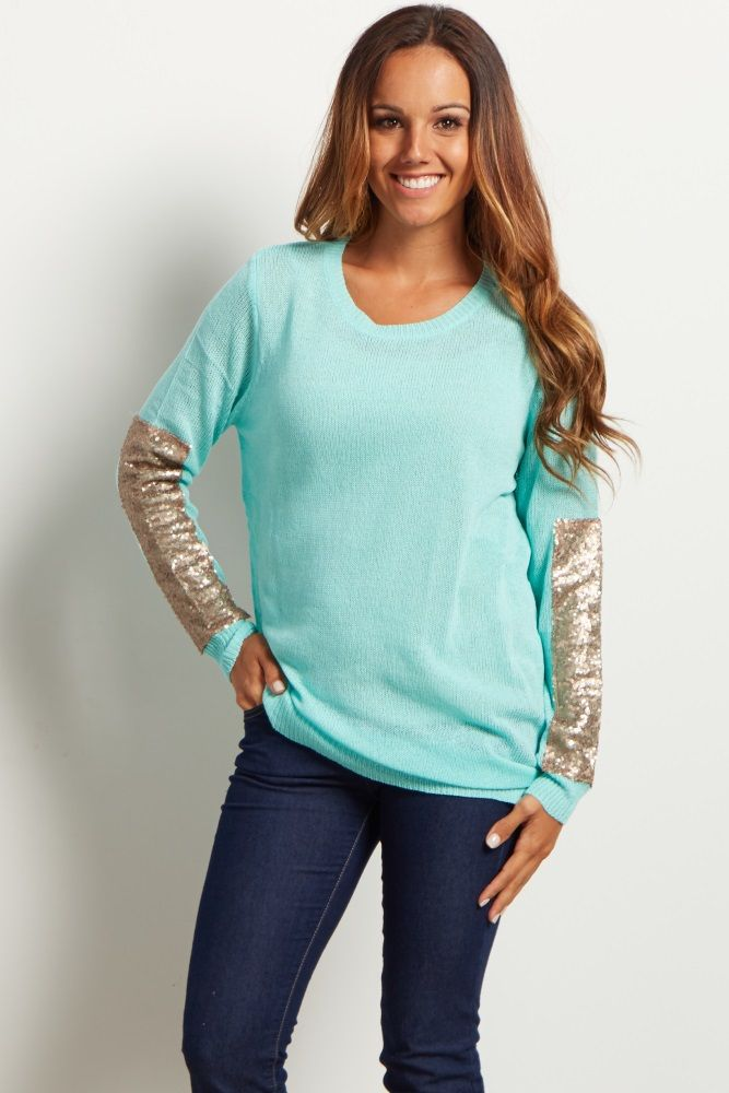 f4e651ae735e7 Mint Green Sequin Accent Sleeve Knit Sweater | Pretty Fashionista ...