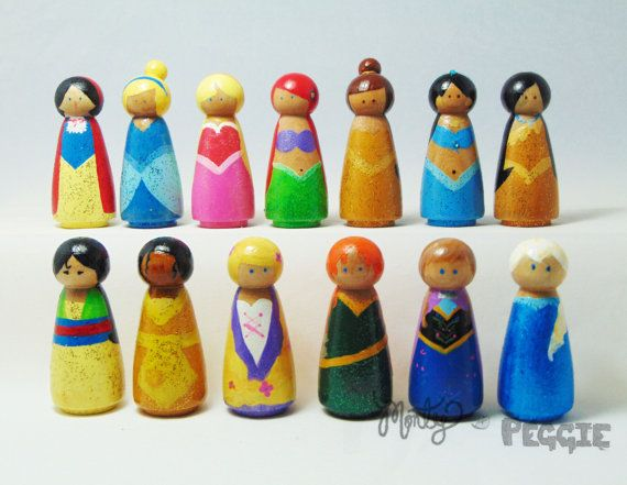 wooden princess peg people wooden peg princess by MontyandPeggie