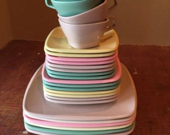 Melmac Dishes From the 1950s and 60s | Vintage Melmac Set 1950s Harmony House Talk Of & Melmac Dishes From the 1950s and 60s | Vintage Melmac Set 1950s ...