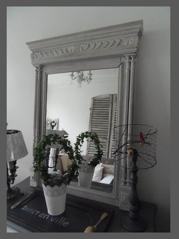miroir trumeau ch ne style charme patin perle d corations murales par ate d co dans un. Black Bedroom Furniture Sets. Home Design Ideas