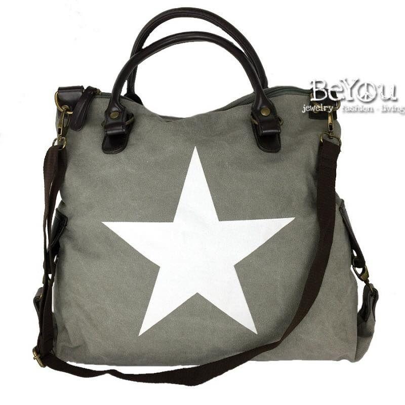 Ibiza Star Canvas Bag Grey