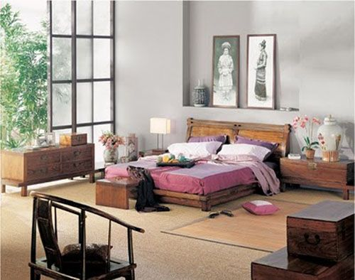 Chinese Modern Rustic Wood Low Bed Frame Headboard Oversize Frosted Window Asian Bedroom Bedroom Design