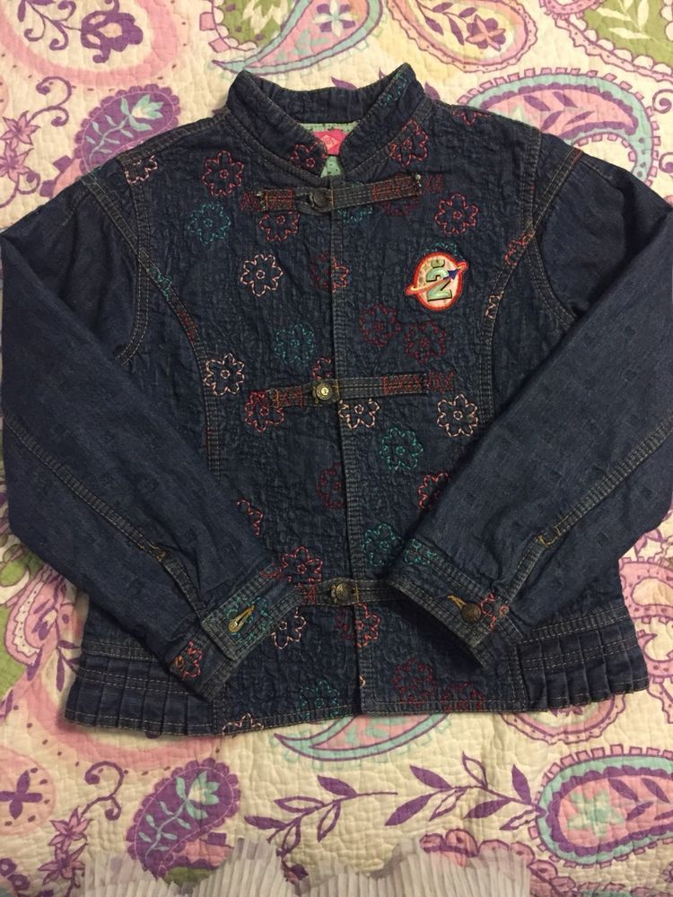 47bb7948c NWOT Oilily 140 (9-10) Girls Embroidered Denim Jacket Cotton Lined #fashion