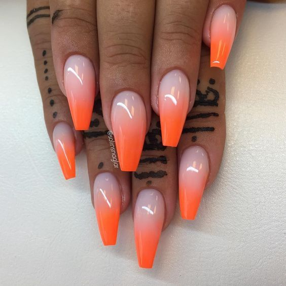 32 Trendy And Glamorous Ombre Coffin Nails For Your Inspiration With Images Ombre Acrylic Nails Orange Acrylic Nails Orange Ombre Nails