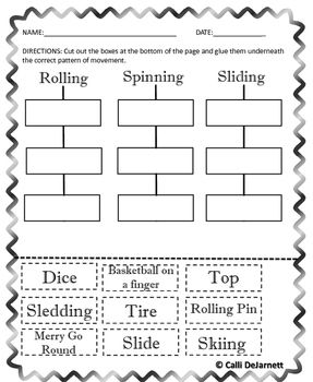 Patterns of Movement (Sliding, Spinning, Rolling) Bundle | School ...