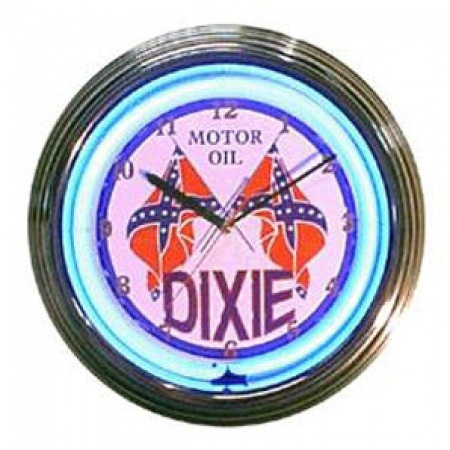 Neonetics dixie motor oil neon clock dixie motor oil neon clock features round clock features with dixie motor oil design rim of clock has sleek chrome finish lit with multi color neon lights easily hangs on walls takes amipublicfo Images