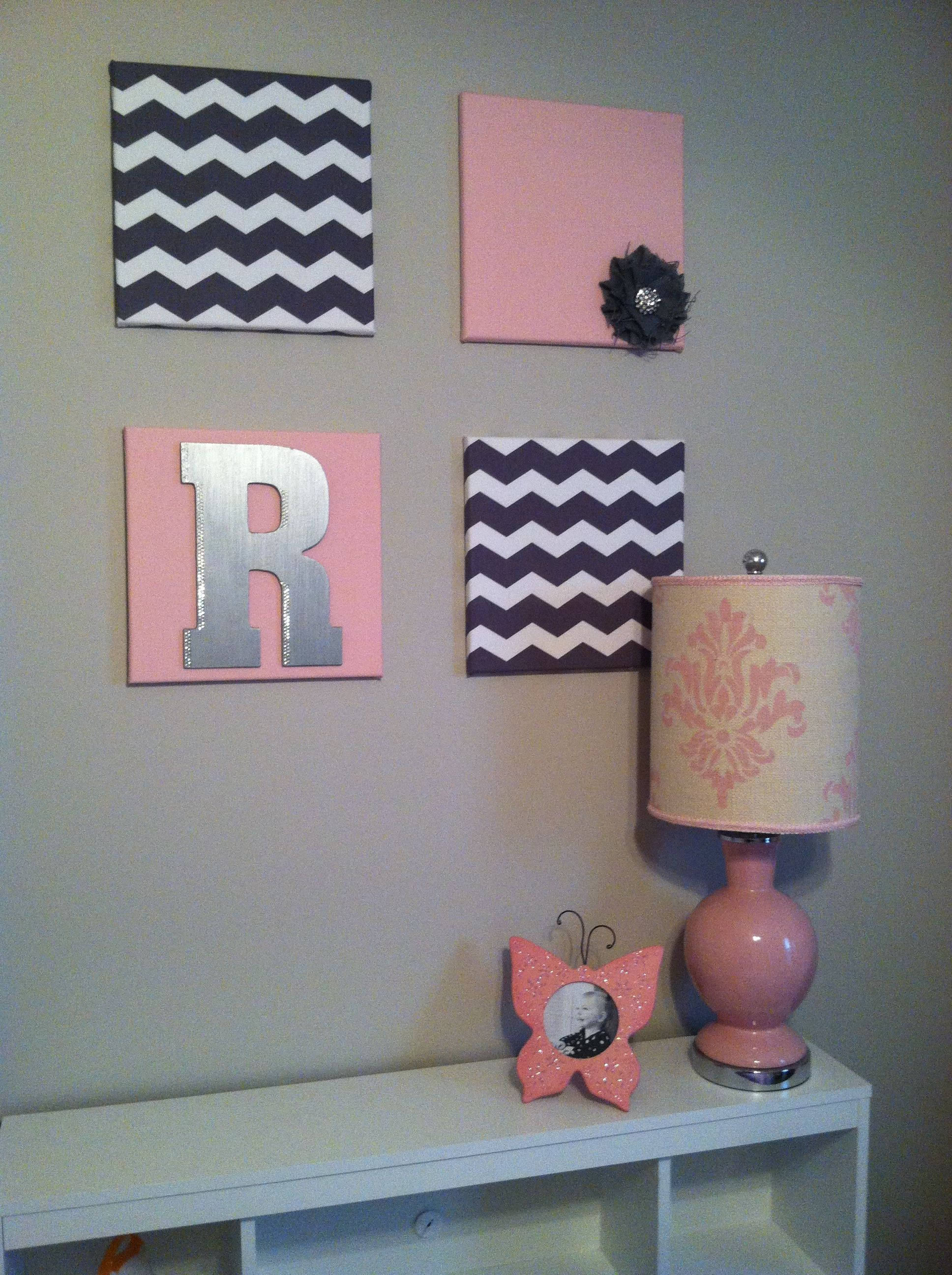 12x12 canvas wrapped in material. Toddler girl bedroom