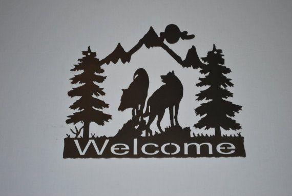 Wolf Welcome Sign by BurnettMetalArt on Etsy, $24.99