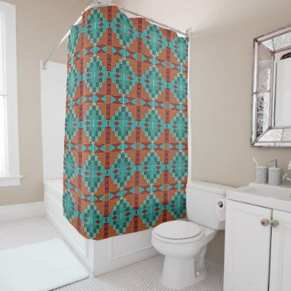 red and teal shower curtain.  Red Orange Turquoise Teal Eclectic Ethnic Look Shower Curtain