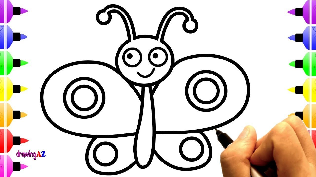 How To Draw Cute Butterfly Simple Butterfly Drawing And Coloring