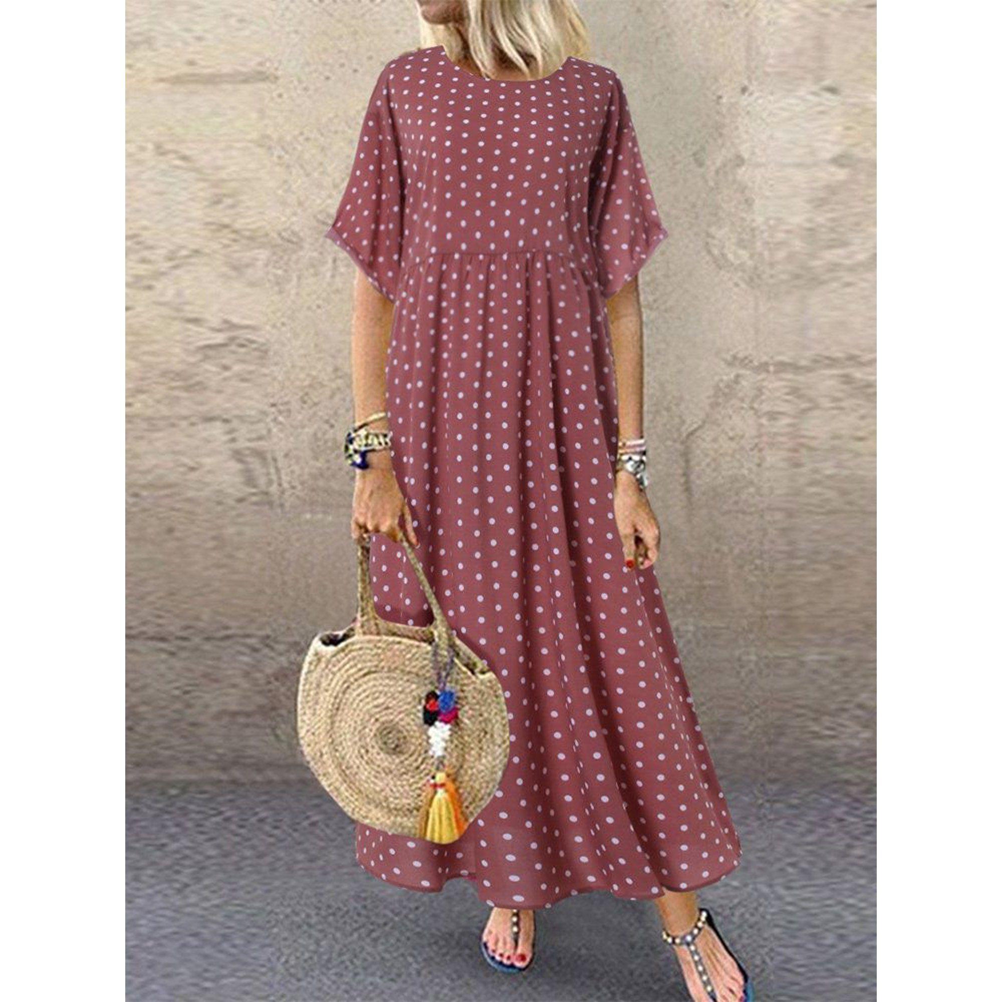 Side Women S Dress Polka Dot Small Fresh Large Size Dress Walmart Com Plus Size Maxi Dresses Maxi Dress With Sleeves Short Sleeve Maxi Dresses [ 2000 x 2000 Pixel ]