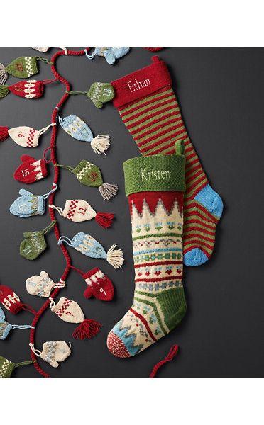 Garnet Hill Fair Isle Woolen Stockings | Holiday decor | Pinterest