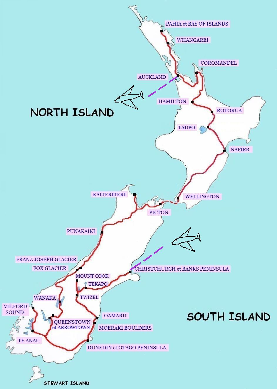 Itineraire Road Trip New Zealand New Zealand Holidays North